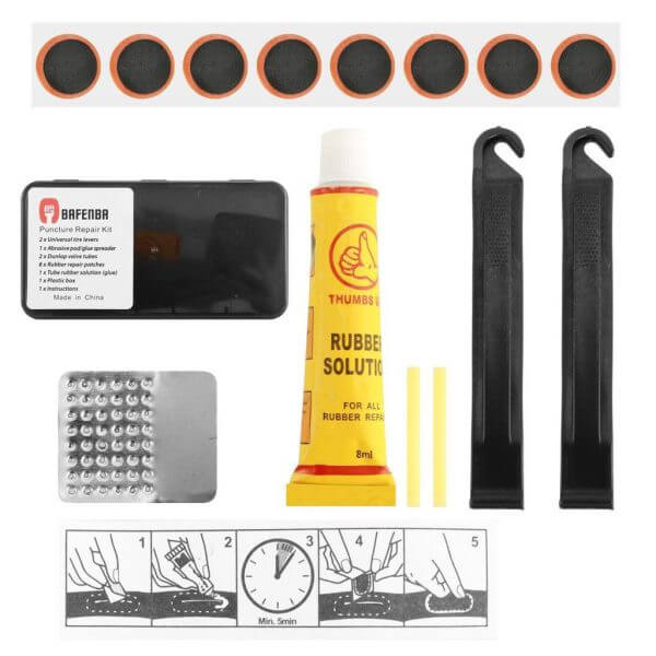 RUBBER REPAIR KIT WITH 2 PLASTIC TIRELEVERS